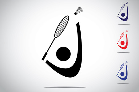 Badminton player playing smashing shuttlecock with racket, different colorful symbol icon set of Man or Woman athlete hitting shuttle with racket - concept design illustration white background