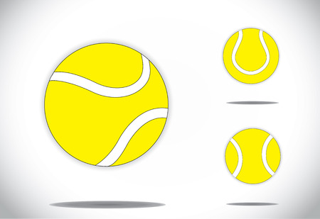 yellow colorful Tennis balls symbol icon set concept design, three different realistic yellow colored balls collection set with bright white background - art vector illustration Vector