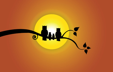Evening sun, tree leaf   orange sky and owl family silhouette. Yellow morning sun with red orange gradient sky with family of owl sitting on a branch of a tree with leaves and peace concept illustration Illustration