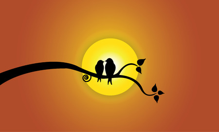 Happy Young love birds on tree branch during sunset . Two youthful bird silhouettes sitting on a leafy tree branch against beautiful bright yellow sun concept illustration artwork Vector