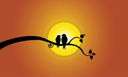 daybreak: J�venes Felices p�jaros del amor en la rama de �rbol durante el atardecer. Dos siluetas de aves j�venes se sienta en una rama de �rbol de hoja contra la hermosa obra de arte brillante sol amarillo ilustraci�n del concepto Vectores