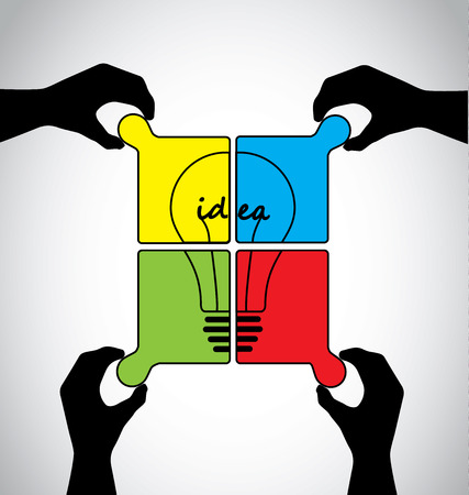 Teamwork idea jigsaw puzzle with human hands working together concept, hand silhouettes placing colorful piece of jigsaw to build an idea bulb solution together Vector