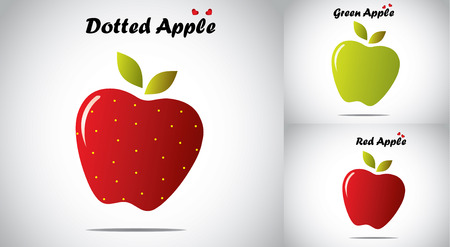 red color yellow dotted organic apple with green and red apples Vector
