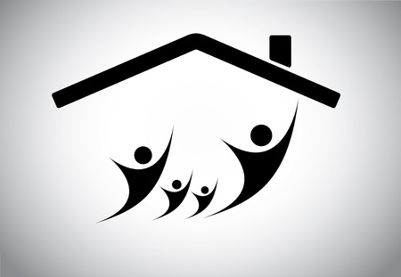 active life: Happy family of man, woman and children jumping joy in home house, happiness of family with parents and kids with hands up in the air with house roof and bright white background - concept illustration