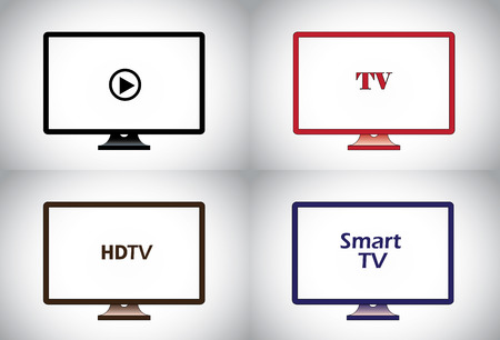flat screen tv: colorful flat, lcd, hd, smart plasma tv television icon set  different colored wide screen television collection concept illustration