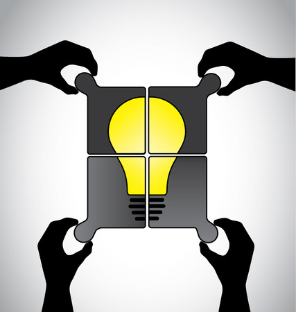 Teamwork idea jigsaw puzzle with human hands working together concept. Hand silhouettes placing different pieces of jigsaw to build a yellow bright idea bulb solution together Vector