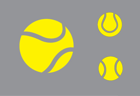 yellow colorful Tennis balls symbol icon set concept design  three different realistic yellow colored balls collection set with grey background - art vector illustration