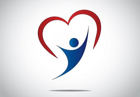 개념 디자인 일러스트 레이 션 아트 - 붉은 마음 젊은 여자 또는 빨간색 다채로운 심장 모양의 기호 뒤에과 함께 두 손을 춤 여자와 기쁨 행복 점프 행 일러스트