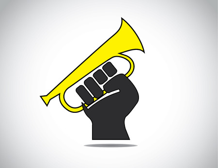 rights: human hand fist protesting by holding a yellow megaphone concept  black human hand with folded fingers hold a bugle - rights or protest or feedback symbol illustration art Illustration