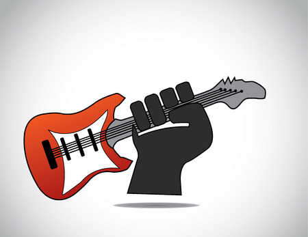 folded hands: dark black hand holding bright red guitar - love music concept. A guitarist holding a red electric guitar with his folded hands - music award winning or achievement illustration