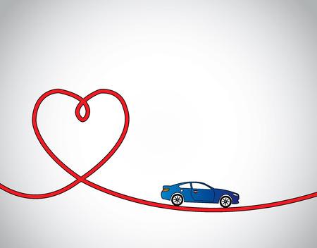 ハート型道路 & 青い車運転が大好きや旅行の概念。赤いハートの道旅行青い現実的な車と明るい白い背景 - コンセプト デザイン イラスト アート