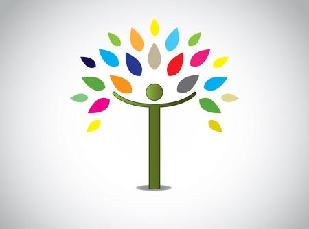 abstracte kleurrijke bladeren boom gelukkige jongen of meisje met open handen geluk vreugde viering concept ontwerp symbool met verschillende gekleurde bladeren en jonge mens en witte achtergrond Stock Illustratie
