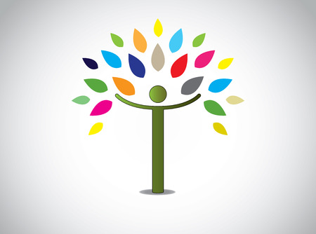 abstract colorful leaves tree happy boy or girl with open hands  joy happiness celebration concept design symbol with different colored leaves and young human person and white background