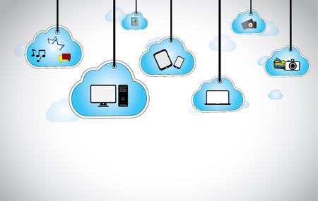 blue clouds: hanging blue clouds with laptop, computer, camera, smartphone  cloud computing abstract background design with different technology icons - chat, emails, videos, camera, photos, electronic devices