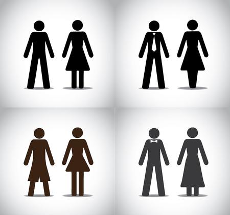goed geklede man of vrouw jongen meisje stond begrip symbolen verschillende zwarte kleurrijke eenvoudige mannelijke en vrouwelijke staande iconen eenvoudig, professioneel, feest en vakantie collectie set