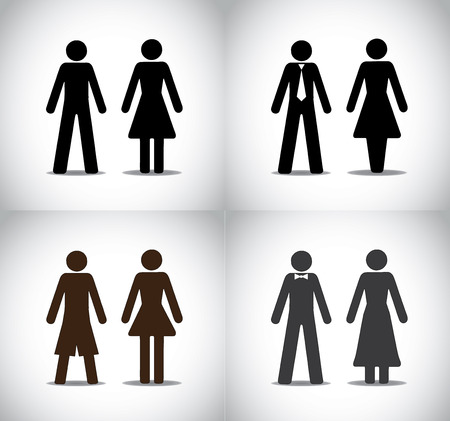 well dressed man woman or boy girl standing concept symbols set  different black colorful simple male and female standing icons  simple, professional, party and holiday  collection set