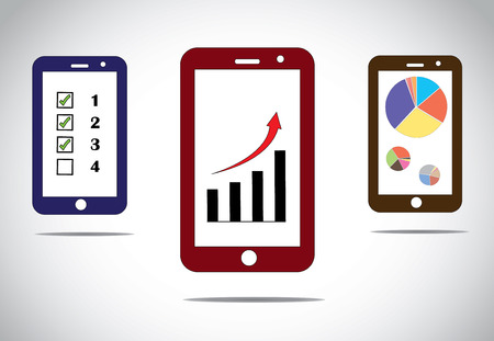 mobile business progress charts and arrow infographics icons  different mobile business success based infographic concept images with arrow, bar and pie charts and to do list - concept illustration Vector