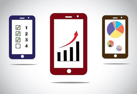 concept images: mobile business progresso grafici e freccia icone infografica diverse immagini concetto infographic successo business mobile based con frecce, barre e grafici a torta e per fare la lista - concetto illustrazione