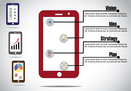 smartphone business: mobile smartphone business infographics success steps concept  unique colorful app business success step infographic with different progress charts and arrows - illustration design