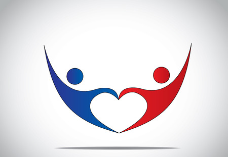 young man   woman couple dance   hold hands in love heart shape  blue and red colored happy male and female person symbols dancing and jumping with joy and happiness with hands up - concept symbol