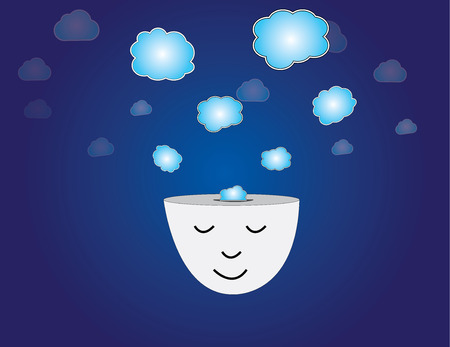 young human head dreaming meditating with thought bubbles art  peaceful and relaxed young man thinking with closed eyes with thoughts coming out of his head with dark blue sky background illustration Stock Vector - 27377090