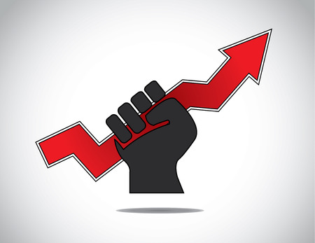 folded hand: human hand strongly holding progress arrow of success concept  black human hand with folded fingers hold a red business arrow - determination to win   succeed symbol illustration art Illustration