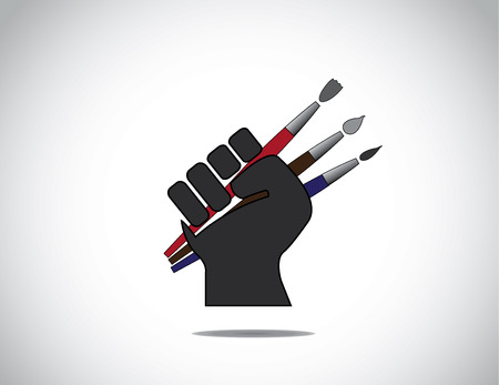 folded hand: human hand fist holding different colorful paint brushes symbol   black human hand with folded fingers hold three different colored paintbrushes - art education concept illustration
