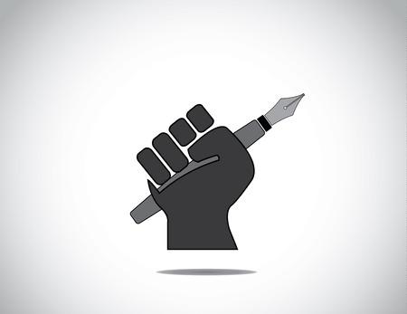 puÑos: protestando puño mano humana que sostiene un icono concepto pluma mano que sostiene la pluma colorido negro en señal de protesta o de ganar con los dedos cerrados