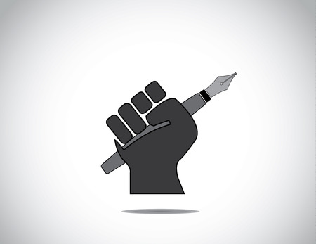 protest signs: protesting human hand fist holding a fountain pen concept icon  black colorful hand holding pen in protest or winning with closed fingers