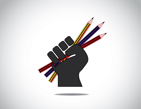 human hand strongly holding colorful pencils - education concept  black human hand with folded fingers hold set of colorful pensils  - determination to learn symbol illustration art Illustration