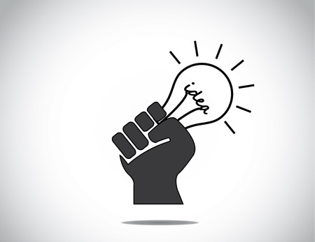 folded hand: human hand strongly holding idea light bulb of success concept   black human hand with folded fingers hold a glowing light bulb  - determination to innovate   succeed symbol illustration art Illustration