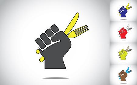 eating food: una forchetta in mano mano pronta e coltello per mangiare cibo concetto illustrazione colorata di raccolta Vettoriali