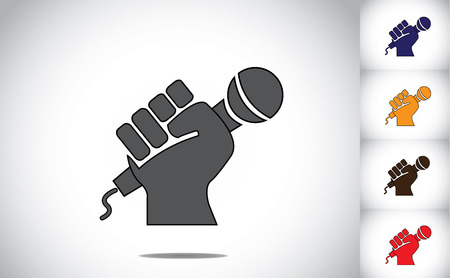 human hand strongly holding mic microphone - karaoke concept   black human hand silhouette with folded fingers hold the mic or microphone  - determination to speak up symbol illustration art Vettoriali
