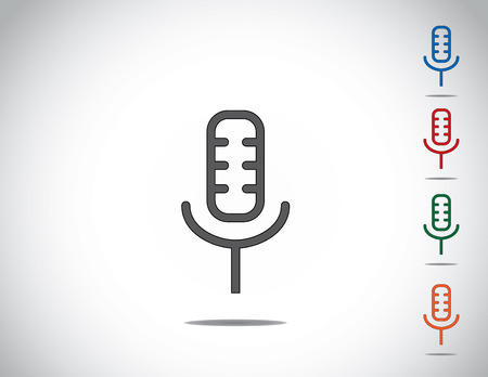simple colorful microphone mic icon symbol collection set design  simple and unique different colored microphone speaker icon illustration with bright white background Vector