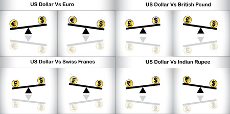 see saw: Concept Illustration of Global Forex Trading between three major currencies  Indian Rupee, Swiss Francs, British Pound and European Euro  of the world with American Dollars