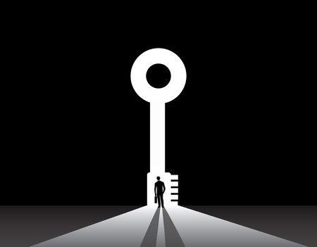 opportunity concept: Businessman silhouette standing front of key door concept  nicely dressed business man in suit with suitcase stand thinking, dreaming, planning in front of big key shaped door concept illustration