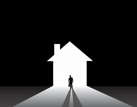 estate planning: Businessman silhouette standing front of house home shape door  nicely dressed business man in suit with suitcase stand thinking, dreaming, planning building big house for real estate industry