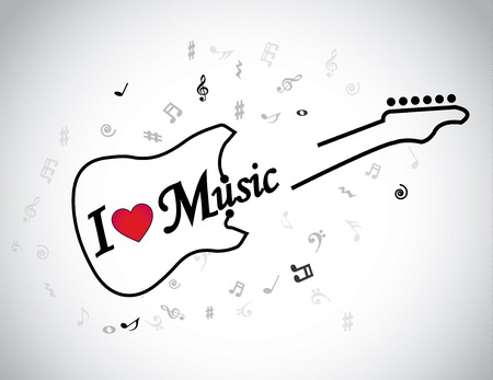 guitarra acustica: Me encanta la música musical guitarra eléctrica señala concepto corazón rojo Un símbolo de la guitarra eléctrica con el texto me encanta la música y las notas musicales alrededor de ella - ilustración obras de arte