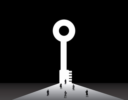 security company: Business men and women standing front of big success key door   nicely dressed businessmen and businesswomen standing, thinking, dreaming, planning in front of big successful key shaped door concept