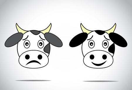 happy and sad faced cow illustration cartoon concept set   Vector