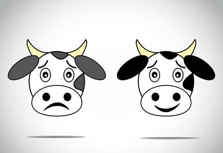animal sad face: happy and sad faced cow illustration cartoon concept set
