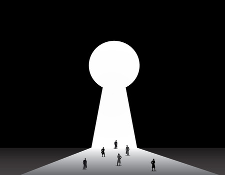 key hole: Businessmen   businesswomen front of key hole door concept  Professional dressed businessman and woman stand thinking in front of a bright keyhole door with black background wall illustration