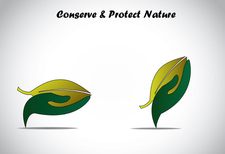 environmentally friendly: hand holding and protecting big green leaf concept  colorful hand protecting conserving saving sharing plant leaf - save earth environment plant illustration art