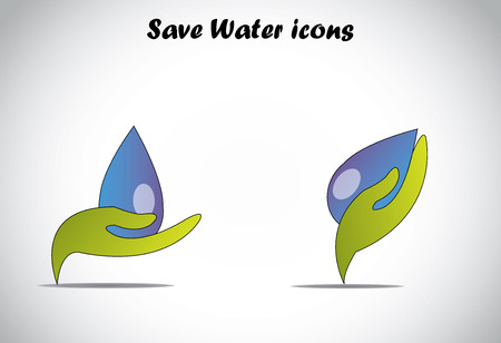 rainwater: hand holding big drop of water conserve or save water concept  green colorful hand protecting conserving saving recycling harvesting water - illustration art