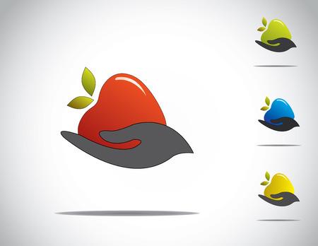 avuç: Sağlıklı yaşam toplama seti için kırmızı olgun yeşil, sarı elma, farklı renkli olgun elma payı paylaşımı Holding genç insan eli Çizim