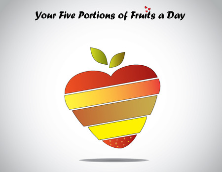 eat 5 different colorful fruits daily love healthy life concept  five different color fruits sliced   placed on each other in shape of love heart with green leaves - perfect diet for healthy life