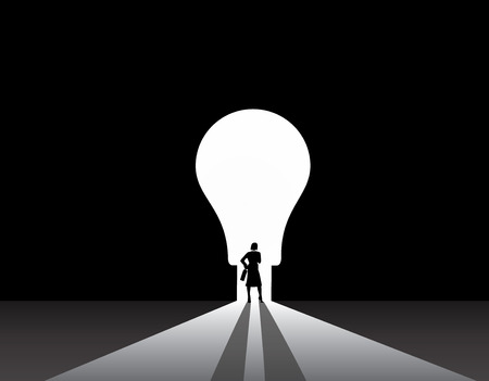 Business woman silhouette standing front of idea lightbulb door  stylish smart businesswoman in suit with suitcase stand thinking, dreaming, planning in front of big light bulb shaped door concept Vettoriali