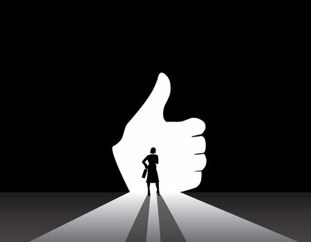 likable: Business woman silhouette standing front of thumbs up hand door  smart stylish nicely dressed businesswoman in suit with suitcase stand thinking, dreaming, planning likable future concept illustration