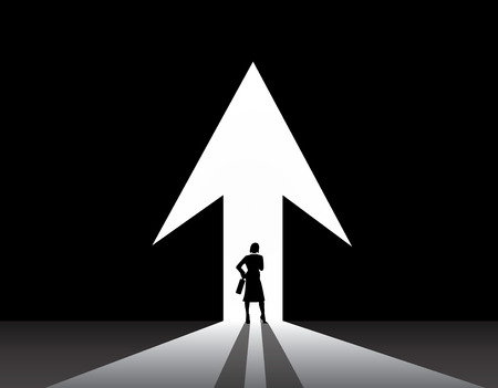smart woman: Business woman silhouette stand front of big up growth arrow door  smart stylish businesswoman in suit with suitcase stand thinking, dreaming, planning in front of big arrow shaped door concept Illustration