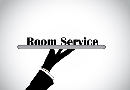 text room: Profesional hand silhouette presenting room service text - concept illustration